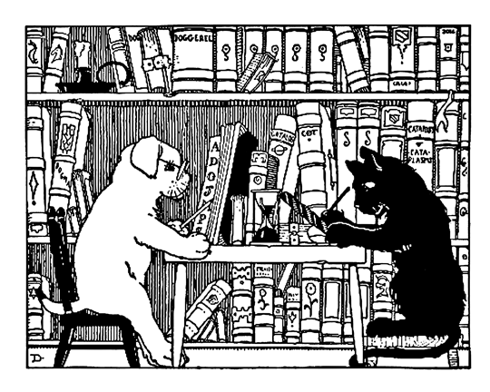 Read (and talk) About Raw (Image: Dog and cat in library. Public Domain -- source unknown.)